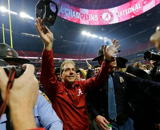 (AP Photo/David J. Phillip). Alabama head coach Nick Saban celebrates after overtime of the NCAA college football playoff championship game against Georgia Monday, Jan. 8, 2018, in Atlanta. Alabama won 26-23.