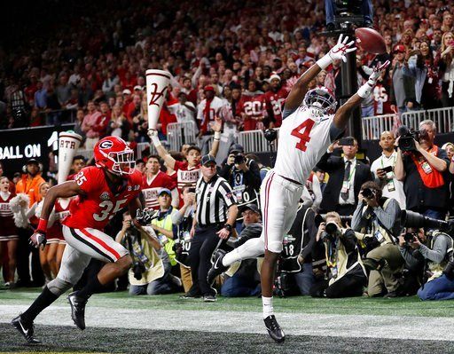 (AP Photo/David Goldman). Alabama's Jerry Jeudy can't catch a pass in the end zone during the second half of the NCAA college football playoff championship game against Georgia Monday, Jan. 8, 2018, in Atlanta.