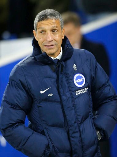 (Gareth Fuller/PA via AP). Brighton & Hove Albion manager Chris Hughton looks on during the English FA Cup, Third Round match against Crystal Palace at the AMEX Stadium in Brighton, England, Monday Jan. 8, 2018.