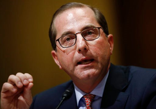 (AP Photo/Carolyn Kaster). Alex Azar testifies during a Senate Finance Committee hearing on Capitol Hill in Washington, Tuesday, Jan. 9, 2018, to consider his nomination to be Secretary of Health and Human Services.