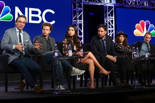 """(Photo by Willy Sanjuan/Invision/AP). Executive Producer Jason Katims, from left, members of the cast Damon J. Gillespie, Auli'i Cravalho, Josh Radnor, Rosie Perez and Executive Producer Jeffrey Seller participate in the """"Rise"""" panel during the NBCUniv..."""