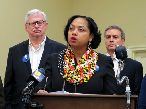(AP Photo/Brian Witte). Delegate Joseline Pena-Melnyk, D-Md., discusses plans for legislation to create an individual mandate for health care at the state level and turn it into a down payment for people to get health insurance in the state during a ne...