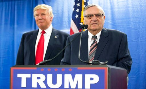 (AP Photo/Mary Altaffer, File). FILE - In this Jan. 26, 2016, file photo, Republican presidential candidate Donald Trump is joined by Joe Arpaio, the sheriff of metro Phoenix, during a news conference in Marshalltown, Iowa. Former Phoenix lawman and Tr...