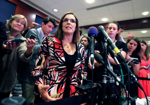 (AP Photo/Manuel Balce Ceneta,File). FILE - In this June 14, 2017 file photo Rep. Martha McSally, R-Ariz. speaks to reporters on Capitol Hill in Washington. Joe Arpaio, the former Arizona sheriff who was spared a possible jail sentence when President D...