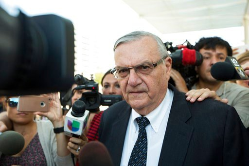 (AP Photo/Angie Wang, File). FILE- In this July 6, 2017, file photo, former Sheriff Joe Arpaio leaves the federal courthouse in Phoenix, Ariz. Arpaio is running for the Arizona U.S. Senate seat being vacated by Republican Sen. Jeff Flake.