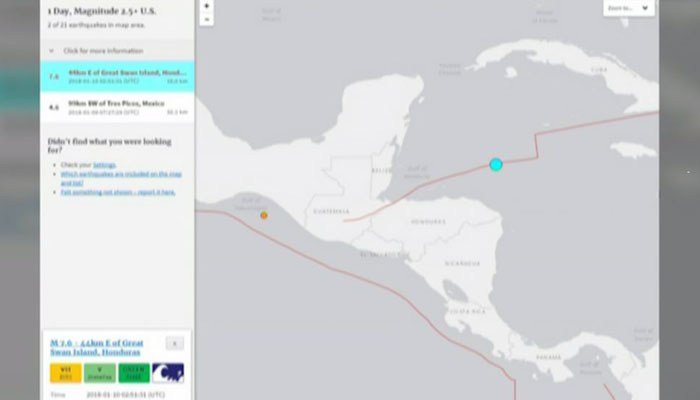 This graphic shows the point (in blue) where the earthquake occurred, 141 miles off the coast of Honduras. (Source: CNN)