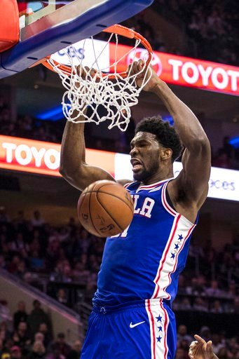 (AP Photo/Chris Szagola, File). FILE - In this Dec. 7, 2017, file photo, Philadelphia 76ers' Joel Embiid, of Cameroon, dunks during the second half of an NBA basketball game against the Los Angeles Lakers, in Philadelphia. When the Boston Celtics and P...