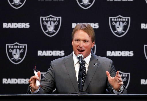 (AP Photo/Marcio Jose Sanchez). Oakland Raiders new head coach Jon Gruden answers questions during an NFL football press conference Tuesday, Jan. 9, 2018, in Alameda, Calif.