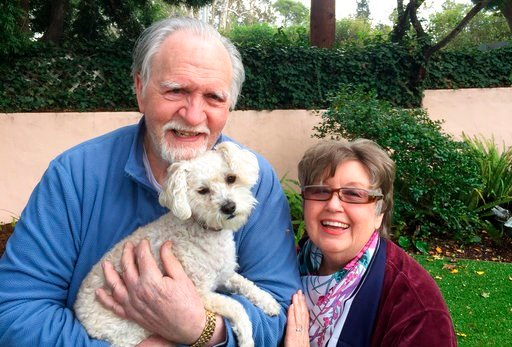 (Kelly Weimer via AP). This January 2017, photo provided by Kelly Weimer, shows Jim Mitchell, 89, with his wife, Alice Mitchell, 78, and their dog, Gigi. The Mitchell's and their dog have been missing since Tuesday, Jan. 9, 2018, when their Montecito, ...