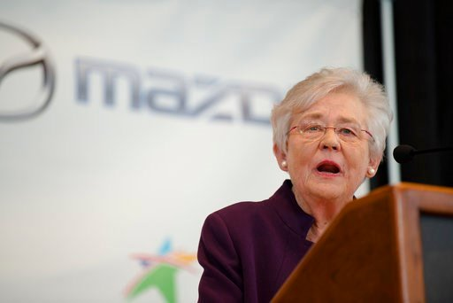 (Albert Cesare/The Montgomery Advertiser via AP). Alabama Gov. Kay Ivey speaks during a press conference, Wednesday, Jan. 10, 2018, in Montgomery, Ala., where the Japanese automakers Mazda and Toyota announced plans to build a huge $1.6 billion joint-v...