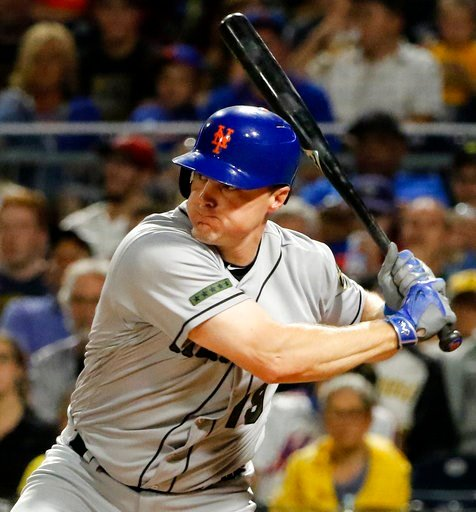 (AP Photo/Gene J. Puskar, File). FILE - In this Sunday, May 28, 2017 file photo, New York Mets' Jay Bruce drives in two runs with a double off Pittsburgh Pirates starting pitcher Tyler Glasnow in the fifth inning of a baseball game in Pittsburgh. Two p...