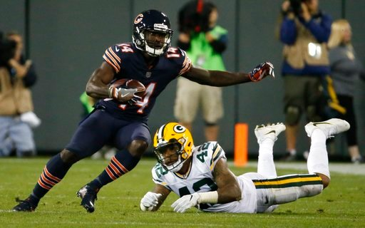 (AP Photo/Mike Roemer, File). FILE - In this Sept. 28, 2017, file photo, Chicago Bears' Deonte Thompson gets past Green Bay Packers' Morgan Burnett during the first half of an NFL football game in Green Bay, Wis. Amazon had a mostly successful debut in...