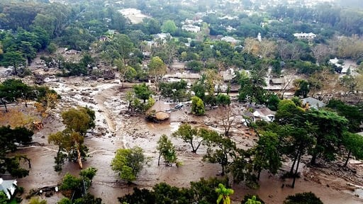 (Matt Udkow/Santa Barbara County Fire Department via AP). This aerial photo provided by the Santa Barbara County Fire Department shows mudflow and damage to homes in Montecito, Calif., Wednesday, Jan. 10, 2018. Anxious family members awaited word on lo...