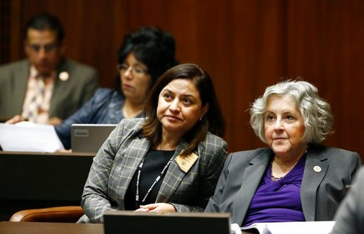 (AP Photo/Ross D. Franklin). From right, Pamela Powers-Hannley, D-Tucson, Isela Blanc, D-Tempe, Sally Ann Gonzales, D-Tucson, and Richard Andrade, D-Glendale, participate with other Arizona House members receiving mandatory sexual harassment and other ...