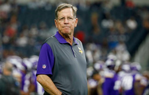 (AP Photo/Tony Gutierrez, File). FILE - In this Aug. 29, 2015, file photo, then-Minnesota Vikings offensive coordinator Norv Turner watches the team warm up before a preseason NFL football game against the Dallas Cowboys, in Arlington, Texas. A person ...