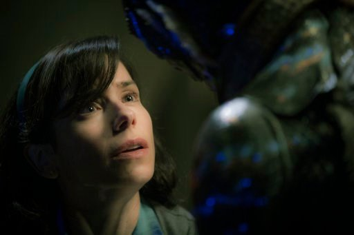 "(Kerry Hayes/Fox Searchlight Pictures via AP). This image released by Fox Searchlight Pictures shows Sally Hawkins, left, and Doug Jones in a scene from the film ""The Shape of Water."" Guillermo del Toro's Cold War fantasy romance leads all nominees for..."
