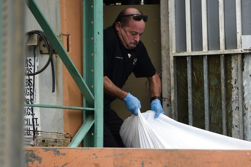 (AP Photo/Carlos Giusti). A forensic worker lifts a  a body at a crime scene, in San Juan, Puerto Rico, Thursday, Jan. 11, 2018 . As the island struggles to recover from Hurricane Maria, it is facing one of the biggest spikes in violent crime in nearly...