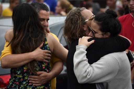 (AP Photo/Carlos Giusti). Relatives comfort each other as the body of a family member is removed at an early morning crime scene, in San Juan, Puerto Rico, Thursday, Jan. 11, 2018. While the number of homicides did not immediately spike in the weeks af...