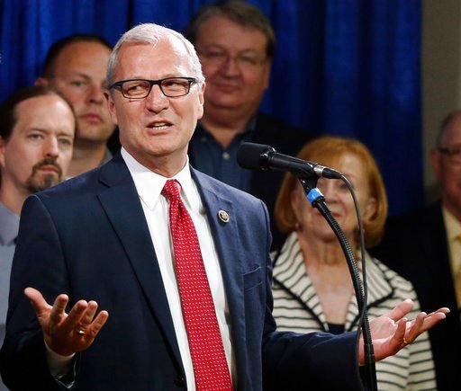 (AP Photo/Charles Rex Arbogast File). FILE - In this May 26, 2016, file photo, North Dakota state Rep. Kevin Cramer, R-ND, speaks in Bismarck, N.D. Cramer said Thursday, Jan. 11, 2018, he won't run for U.S. Senate, depriving Republicans of the candidat...