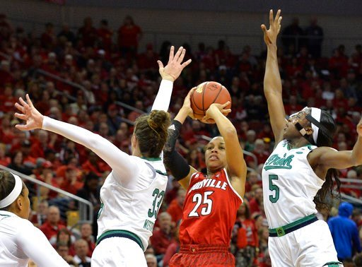 (AP Photo/Timothy D. Easley). Louisville guard Asia Durr (25) shoots between the defensive pressure of Notre Dame forward Kathryn Westbeld (33) and guard Jackie Young (5) during the first half of an NCAA college basketball game, Thursday, Jan. 11, 2018...