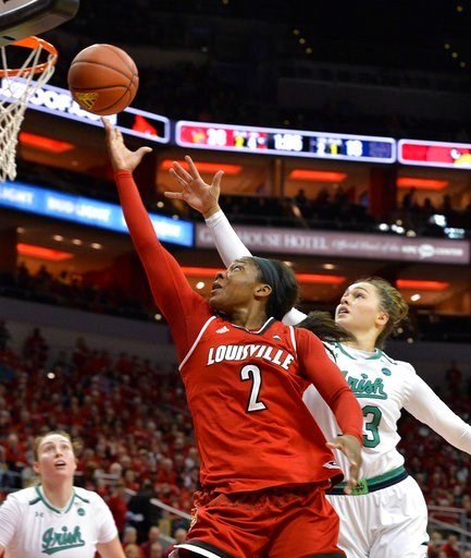 (AP Photo/Timothy D. Easley). Louisville forward Myisha Hines-Allen (2) goes for a layup past the defense of Notre Dame forward Kathryn Westbeld (33) during the first half of an NCAA college basketball game, Thursday, Jan. 11, 2018, in Louisville, Ky.