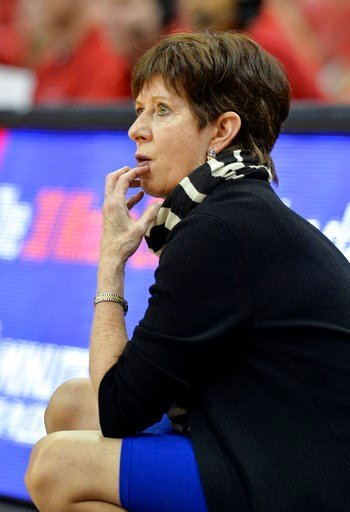 (AP Photo/Timothy D. Easley). Notre Dame head coach Muffet McGraw watches the first half of an NCAA college basketball game against Louisville, Thursday, Jan. 11, 2018, in Louisville, Ky.