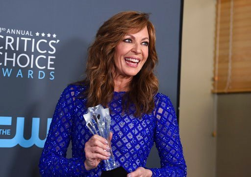 "(Photo by Jordan Strauss/Invision/AP). Allison Janney, winner of the award for best supporting actress - film for ""I, Tonya"", poses in the press room at the 23rd annual Critics' Choice Awards at the Barker Hangar on Thursday, Jan. 11, 2018, in Santa Mo..."