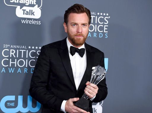 "(Photo by Jordan Strauss/Invision/AP). Ewan McGregor, winner of the award for best actor in a movie made for TV or limited series for ""Fargo"", poses in the press room at the 23rd annual Critics' Choice Awards at the Barker Hangar on Thursday, Jan. 11, ..."