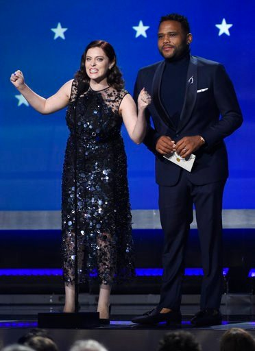 (Photo by Chris Pizzello/Invision/AP). Rachel Bloom and Anthony Anderson present the award for best actress in a movie made for TV or limited series at the 23rd annual Critics' Choice Awards at the Barker Hangar on Thursday, Jan. 11, 2018, in Santa Mon...