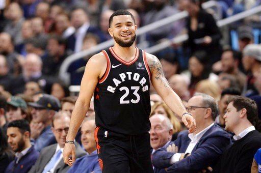 (Frank Gunn/The Canadian Press via AP). Toronto Raptors guard Fred VanVleet (23) reacts during a break in play during the second half of the team's NBA basketball game against the Cleveland Cavaliers on Thursday, Jan. 11, 2018, in Toronto.