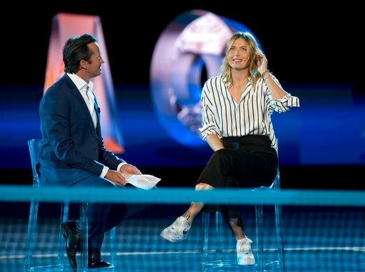 (AP Photo/Mark Baker). Former ladies single's champion Russia's Maria Sharapova is interviewed on Margaret Court Arena during the ceremony for the official draw at the Australian Open tennis championships in Melbourne, Australia Thursday, Jan. 11, 2018.