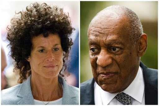 (AP Photo/Matt Rourke, File). FILE – This combination of file photos shows Andrea Constand, left, walking to the courtroom during Bill Cosby's sexual assault trial June 6, 2017, at the Montgomery County Courthouse in Norristown, Pa.; and Bill Cosby, ri...