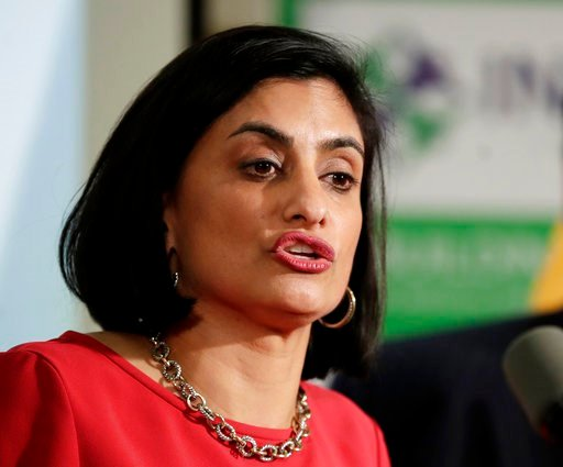 (AP Photo/Julio Cortez). In this Nov. 29, 2017, file photo, Seema Verma, administrator of the Centers for Medicare and Medicaid Services, speaks during a news conference in Newark, N.J.