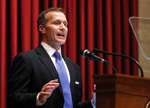 (AP Photo/Jeff Roberson, File). FILE - In this Jan. 10, 2018, file photo, Missouri Gov. Eric Greitens delivers the annual State of the State address to a joint session of the House and Senate in Jefferson City, Mo. Greitens appears to be bracing for a ...