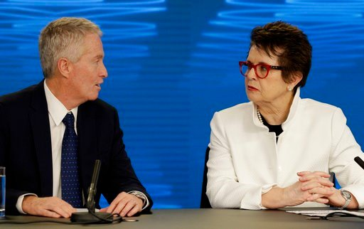(AP Photo/Mark Baker). Billie Jean King, former ladies singles champion talks with Australian Open Tournament Director Craig Tiley, left, during a press conference ahead of the Australian Open tennis championships in Melbourne, Australia Friday, Jan. 1...