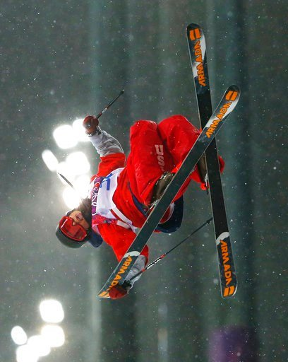 (AP Photo/Sergei Grits, File). FILE - In this Tuesday, Feb. 18, 2014, file photo, Torin Yater-Wallace of the United States competes in the men's ski half pipe qualifying at the Winter Olympics in Krasnaya Polyana, Russia. In spite of a number of obstac...