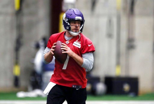 (AP Photo/Jim Mone). In this Jan. 11, 2018, photo, Minnesota Vikings NFL quarterback Case Keenum looks to throw a pass during football practice warmups in Eden Prairie, Minn. Lightly recruited out of high school and undrafted out of college, Keenum has...