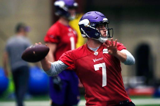 (AP Photo/Jim Mone). Minnesota Vikings quarterback Case Keenum throws a pass during warmups in Eden Prairie, Minn., Thursday, Jan. 11, 2018, in preparation for Sunday's NFL playoff football game against the New Orleans Saints in Minneapolis.