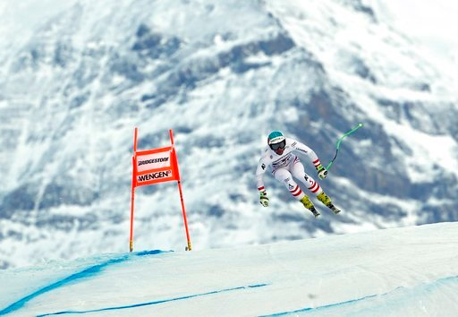 (AP Photo/Gabriele Facciotti). Austria's Vincent Kriechmayr competes during the first portion of an alpine ski, men's World Cup combined race, in Wengen, Switzerland, Friday, Jan. 12, 2018.