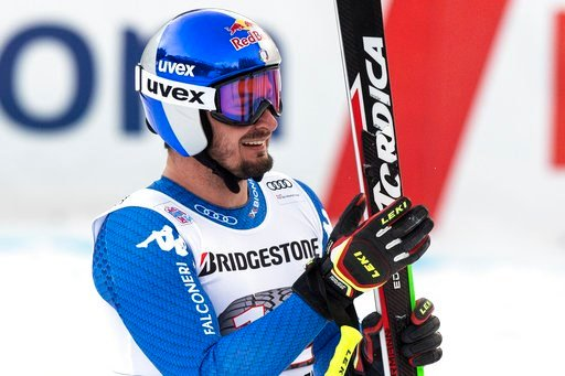 (Anthony Anex/Keystone via AP). Dominik Paris of Italy reacts in the finish area during the downhill portion of the men's Alpine combined at the Alpine skiing World Cup in Wengen, Switzerland, Friday, Jan. 12, 2018.