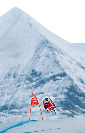 (AP Photo/Gabriele Facciotti). Norway's Kjetil Jansrud competes during the first portion of an alpine ski, men's World Cup combined race, in Wengen, Switzerland, Friday, Jan. 12, 2018.