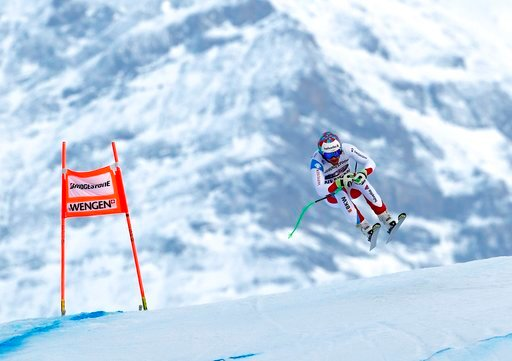 (AP Photo/Gabriele Facciotti). Switzerland's Luca Aerni competes during the first portion of an alpine ski, men's World Cup combined race, in Wengen, Switzerland, Friday, Jan. 12, 2018.