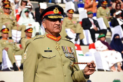 (Inter Services Public Relations via AP). FILE -- In this Nov. 29, 2016 file photo released by Inter Services Public Relations, the public relations arm of the Pakistani army, Pakistani Army Chief Gen. Qamar Javed Bajwa attends the Change of Command ce...