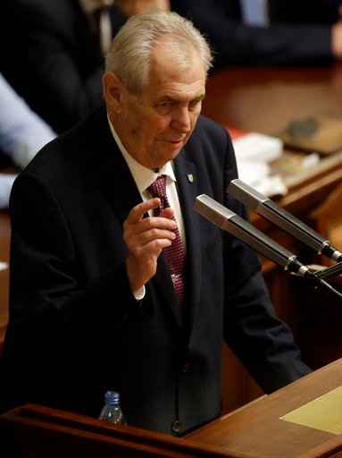 (AP Photo/Petr David Josek). FILE- In this file picture taken on Wednesday, Jan. 10, 2018, Czech Republic's President Milos Zeman, makes a speech during a Parliament session in Prague, Czech Republic. The Czech Republic holds a first round of president...