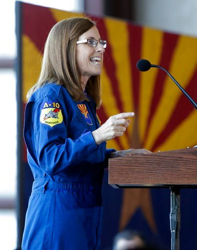 (AP Photo/Rick Scuteri). U.S. Rep. Martha McSally, R-Ariz., speaks at a rally, Friday, Jan. 12, 2018, in Tucson, Ariz. McSally announced Friday that she is running for the U.S. Senate seat being vacated by fellow Republican Jeff Flake.