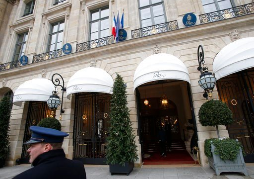 (AP Photo/Michel Euler). A valet waits outside the Ritz hotel in Paris, Thursday, Jan. 11, 2018. Paris police have recovered some jewels stolen from the Ritz Hotel in a multimillion-euro robbery attempt, but are still searching Thursday for two thieves...