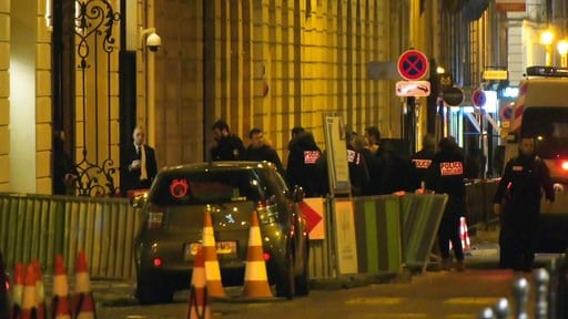 (Clement Lanot via AP). In this image made from video, French police attend the scene outside the Ritz Hotel in Paris, France, after a robbery Wednesday evening Jan. 10, 2018.  Police said Wednesday that five people, at least some armed, entered the lu...