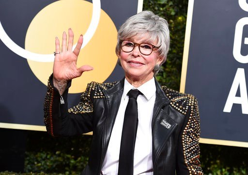 (Photo by Jordan Strauss/Invision/AP). Rita Moreno arrives at the 75th annual Golden Globe Awards at the Beverly Hilton Hotel on Sunday, Jan. 7, 2018, in Beverly Hills, Calif.