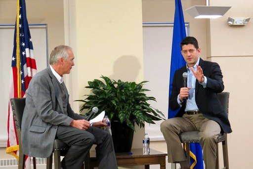(AP Photo/Ivan Moreno). House Speaker Paul Ryan, R-Wis., takes questions from Wispolitics.com President Jeff Mayers on Friday, Jan. 12, 2018, in Milwaukee. The Q&A session was about the country's new tax law, but Ryan addressed obscene comments abo...