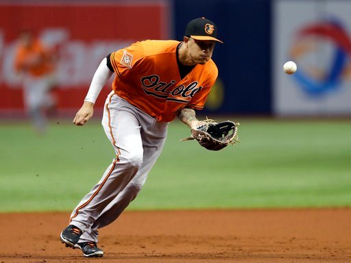 (AP Photo/Chris O'Meara, File). FILE - In this Sept. 30, 2017, file photo, Baltimore Orioles third baseman Manny Machado fields a ground ball by Tampa Bay Rays' Wilson Ramos during the first inning of a baseball game in St. Petersburg, Fla. The hot cor...